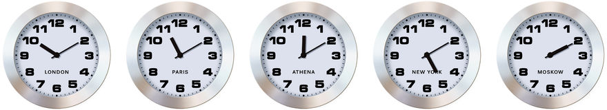 Time zone. Five identical clocks showing different times, picture on a white Stock Photography