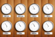 Time Zone. Clocks with different cities time