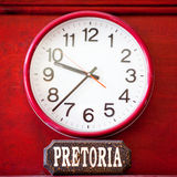 Time zone clock. Time clock with the time zone of South Africa royalty free stock photos
