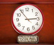 Time zone clock. Time clock with the time zone of Washington stock images