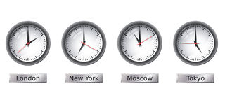 Time zone clocks Stock Images