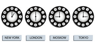 Time zone clocks Royalty Free Stock Images