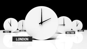 Time zone clocks Stock Photo