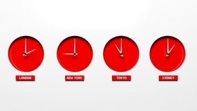 Time zone clocks Stock Image