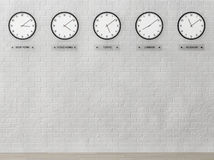 Time Zone Clocks showing different time Stock Photo