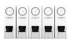 Time Zone Clocks showing different time Royalty Free Stock Photos