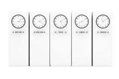 Time Zone Clocks showing different time Stock Photography