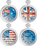 Clocks with flags. Time zone vector clocks showing different time royalty free illustration