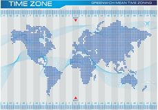 Time zone and world map illustration, for internet content, brochure, poster. easy to modify Royalty Free Stock Photography