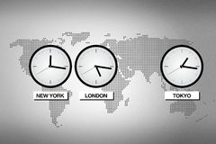 Time zones. Abstract world map with clocks representing different time zones in big cities like Tokyo, London and NEw York Stock Photo