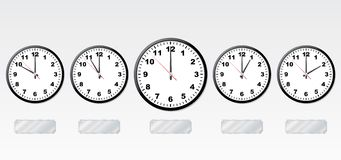 Time zones. Vector illustration. Office-clocks and light-reflecting metal labels Stock Images