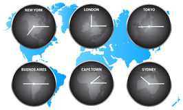 Time Zones Around The World Stock Image