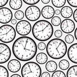 Time zones black and white clock seamless pattern Royalty Free Stock Photo