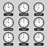 Time zones black and white clock set Stock Photo