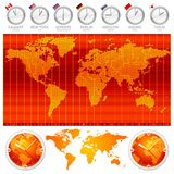 Time zones and clocks stock illustration