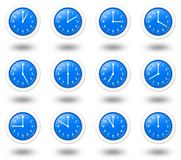 Time Zones Clocks. 12 hours clocks set for world time zone Royalty Free Stock Images