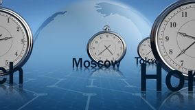 Time zones. Different time in global financial centers stock illustration