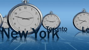 Time zones. Different time in global financial centers royalty free illustration