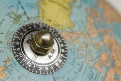 Time Zones Globe. Close-up of time zones on the top of an old globe Royalty Free Stock Photos