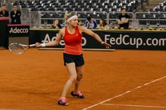 Timea Bacsinszky training at Fed Cup 2018 Romania. Timea bacsinszky training at Fed Cup 2018 Cluj Napoca Sport Hall, Switzerland vs Romanian Team Royalty Free Stock Photos