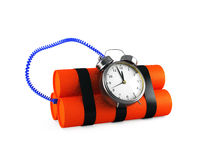 Timebomb made of dynamite  on white Stock Photo