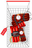 Timebomb in shopping cart Royalty Free Stock Images