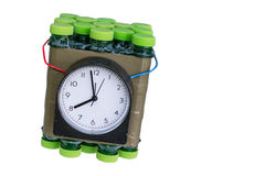 Timed bomb. Dangerous timed bomb on white backgroung isolated Royalty Free Stock Photo