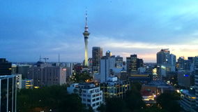 Timelaps of Auckland New Zealand Skyline at sunrise time laps stock video footage