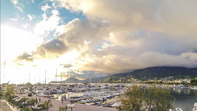 Timelaps golden sunny sunset at yacht marine stock video footage