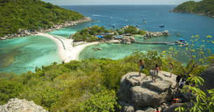 Timelaps Koh Nang Yuan View Point to the Beach, Sea and tree Islands.  stock video