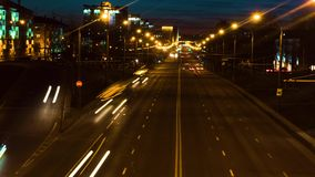 Timelaps of night traffic in Minsk at sunset. Belarus. Timelaps of night traffic in Minsk at sunset stock footage