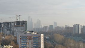 Panorama of Moscow in the morning stock video footage