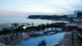 Timelaps of sunset and beach at the luxury hotel. Antalya, Turkey stock video