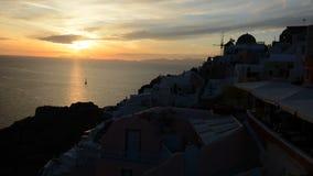 The timelaps of sunset in Oia. Santorini island, Greece stock video