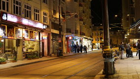 Timelaps in the video of the central street of Istanbul in the evening stock video