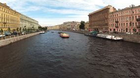 Timelapse俄罗斯圣彼德堡河道运输船夏天 影视素材