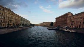 Timelapse俄罗斯圣彼德堡河道运输船夏天 股票录像