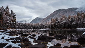 Timelapse在岩石河上的云彩天空 影视素材