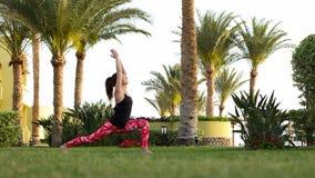 Timelapse är en sportflicka som gör en uppsättning av grundläggande övningar med yoga tidigt på morgonen på semesterorten arkivfilmer