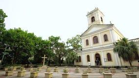 Timelapse Żółty kościół w Macau zbiory