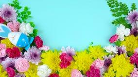 Υπερυψωμένη επίδειξη άνοιξης Πάσχας των φρέσκων λουλουδιών στο μπλε ξύλο, timelapse φιλμ μικρού μήκους