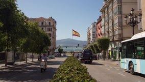 Timelapse - ισπανική σημαία στο σαντάντερ απόθεμα βίντεο