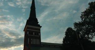 Timelapse που πυροβολείται του καθεδρικού ναού VästerÃ¥s με τη ζωηρή κίνηση σύννεφων απόθεμα βίντεο