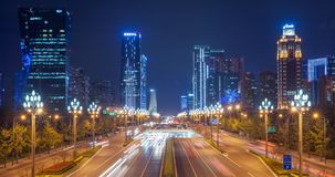 Timelapse της κυκλοφορίας στη λεωφόρο Tianfu τη νύχτα σε Chengdu απόθεμα βίντεο