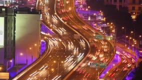 Timelapse της πολυάσχολης κυκλοφορίας πέρα από overpass στη σύγχρονη πόλη, Σαγκάη, Κίνα φιλμ μικρού μήκους