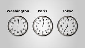 Timelapse της loopable ζωτικότητας UltraHD του χρόνου στο Τόκιο, την Ουάσιγκτον και το Παρίσι διανυσματική απεικόνιση
