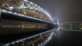 Timelapse του Μέγας Πέτρου ή της γέφυρας Bolsheohtinskiy στη Αγία Πετρούπολη απόθεμα βίντεο