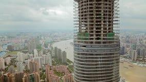 Timelapse του ουρανοξύστη κάτω από την κατασκευή και εικονική παράσταση πόλης της Σαγκάη, Σαγκάη, Κίνα απόθεμα βίντεο