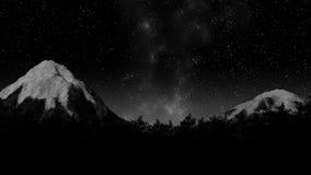 Timelapse των αστεριών που κινούνται στο νυχτερινό ουρανό πέρα από τα δέντρα πεύκων ελεύθερη απεικόνιση δικαιώματος