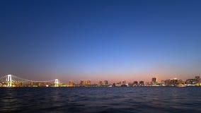 Timelapse - взгляд ночи зоны залива токио сток-видео